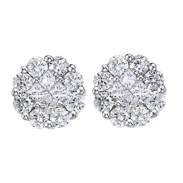 Allurez Diamond Clusters Flower Stud Earrings in 14k Whit...