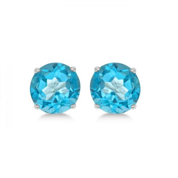 Blue Topaz Stud Earrings Sterling Silver Prong Set (3.00ct)