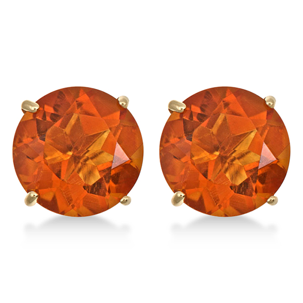 Round Cut Madeira Citrine Stud Earrings in 14k Yellow Gold (5.50ct)