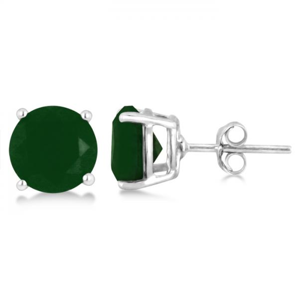 Green Agate Stud Earrings Sterling Silver Prong Set (3.60ct)