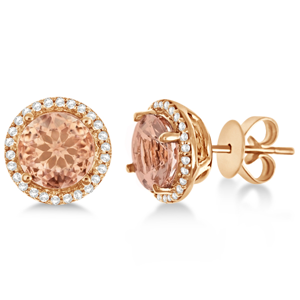 1bee55fdb Round Morganite & Diamond Halo Stud Earrings 14k Rose Gold 2.66ct - V169