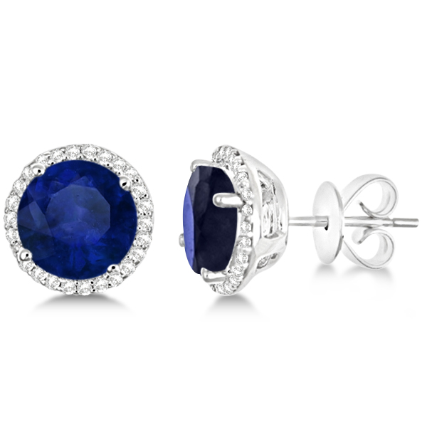 8c0abf9a4 Round Sapphire & Diamond Halo Stud Earrings Sterling Silver 3.36ct ...