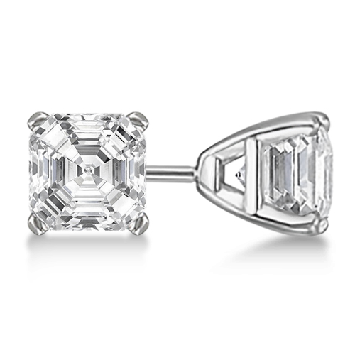 Allurez 0.75ct. Asscher-Cut Diamond Stud Earrings Platinu...