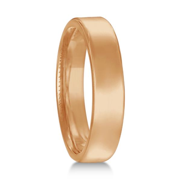 Allurez Euro Dome Comfort Fit Wedding Ring Band 18k Rose ...