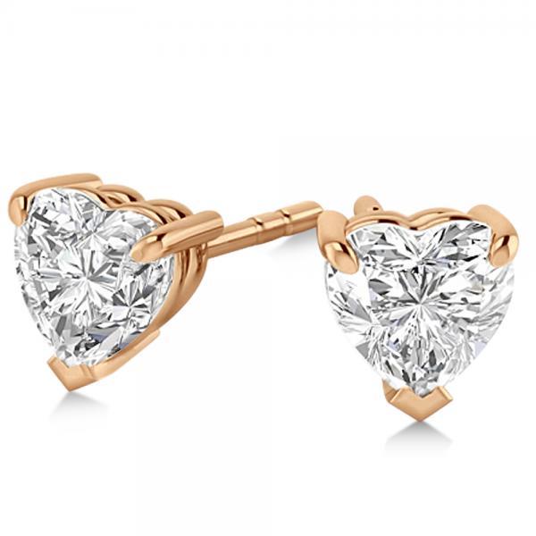 0.50ct Heart-Cut Diamond Stud Earrings 14kt Rose Gold (G-H, VS2-SI1)