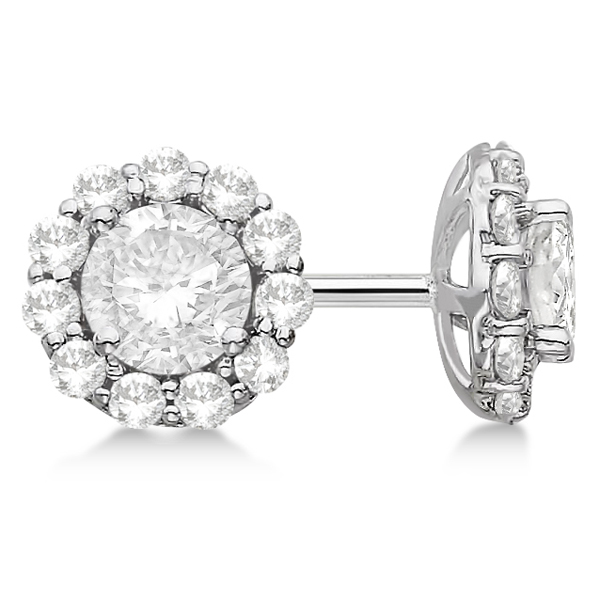 Halo Diamond Stud Earrings 14kt White Gold H Si1 Si2