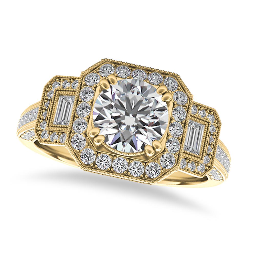 Diamond Vintage Square Halo Engagement Ring 14k Yellow Gold (2.00ct)
