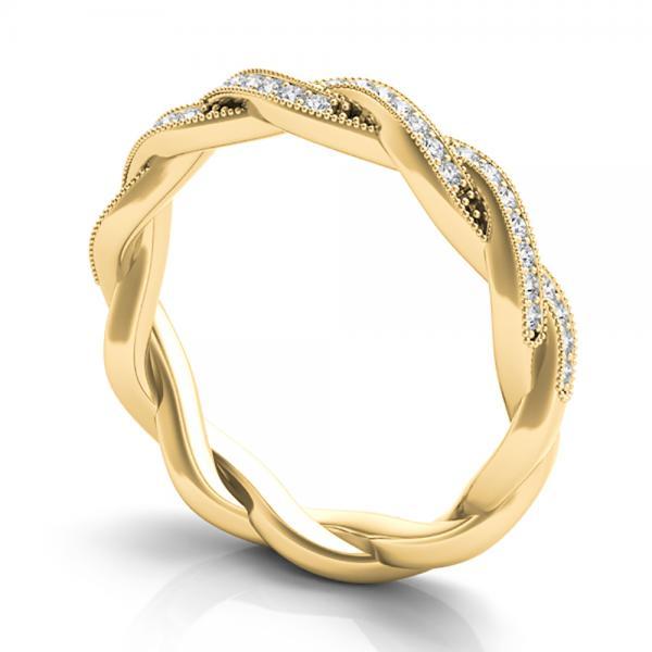 Diamond Twisted Wedding Band 14k Yellow Gold (0.20ct)