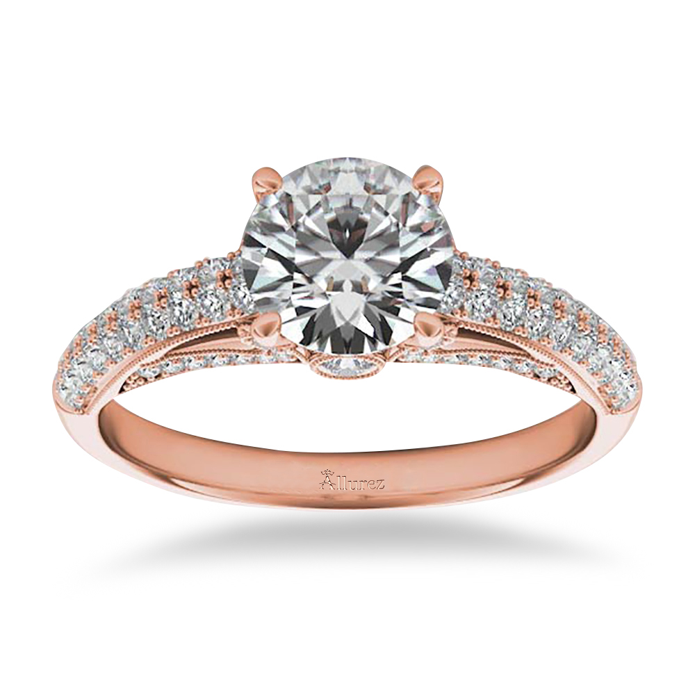 Diamond Pave Set Cathedral Engagement Ring 14k Rose Gold (0.45ct)
