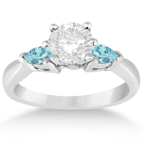 aquamarine new aqua diamond platinum taper product ring and engagement rings set