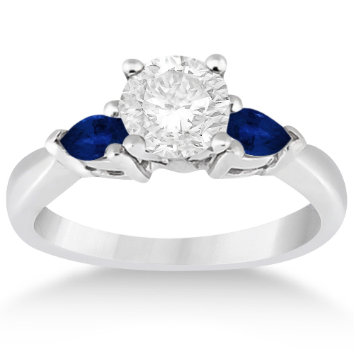 cd6a4f7ae1e5 Pear Three Stone Blue Sapphire Engagement Ring 14k White Gold 0.50ct ...