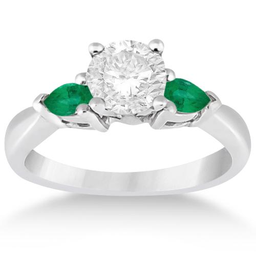 Allurez Pear Cut Three Stone Emerald Engagement Ring Plat...