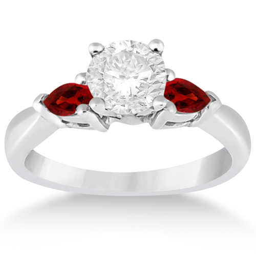 Pear Cut Three Stone Garnet Engagement Ring 14k White Gold 050ct