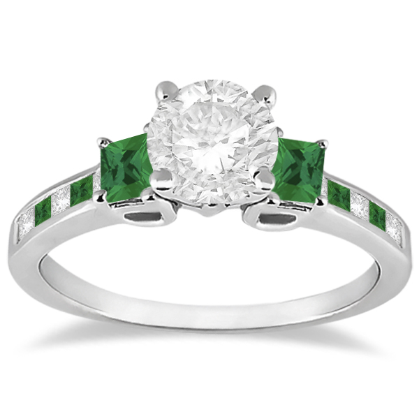 Allurez Princess Cut Diamond and Emerald Engagement Ring ...