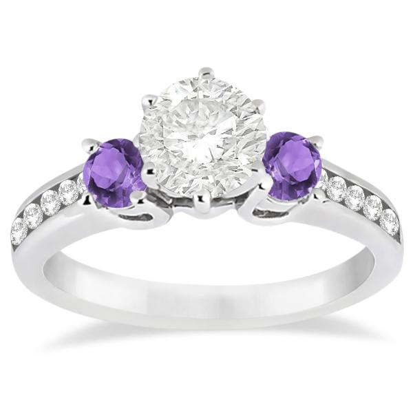 Three Stone Amethyst & Diamond Engagement Ring 14k White Gold 0 45ct