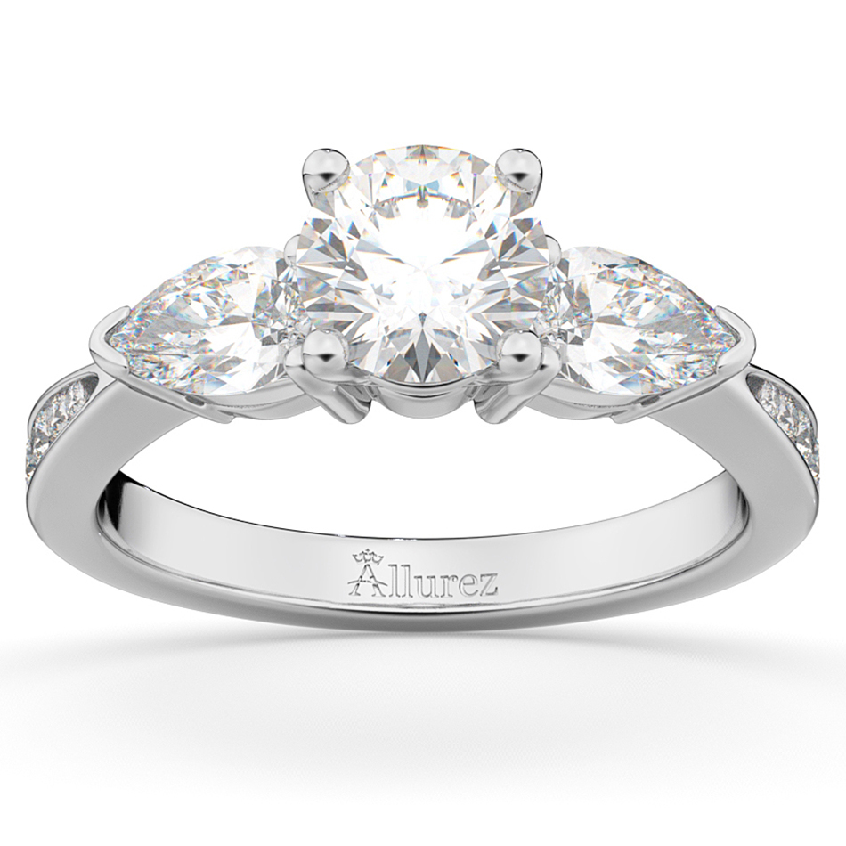 Allurez Three Stone Pear Cut Diamond Engagement Ring 14k ...