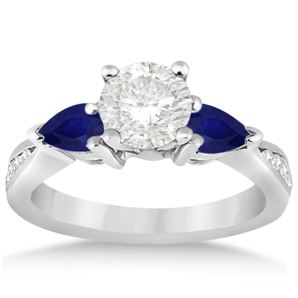 Allurez Diamond and Pear Blue Sapphire Engagement Ring Pl...