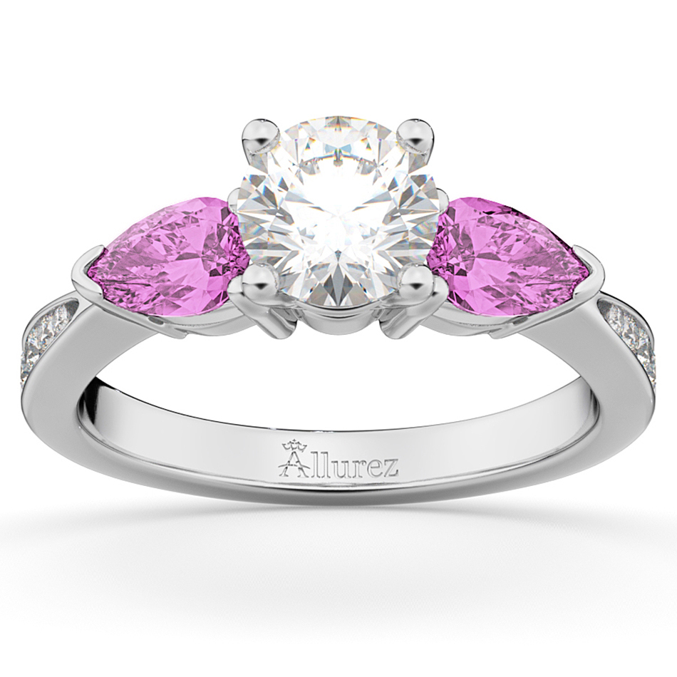 Allurez Diamond and Pear Pink Sapphire Engagement Ring 18k White Gold (0.79ct) at Sears.com