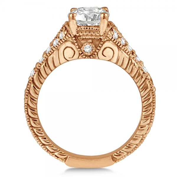Antique Art Deco Oval Diamond Engagement Ring 14K Rose Gold (1.03ct)