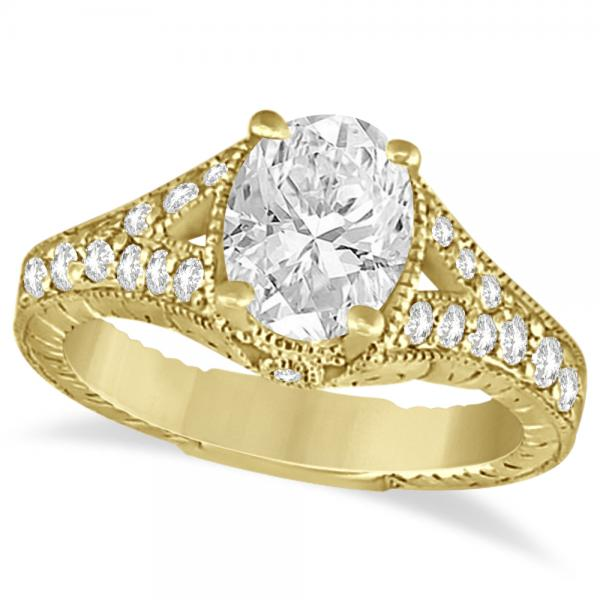 Antique Art Deco Oval Diamond Engagement Ring 14K Yellow Gold (1.03ct)