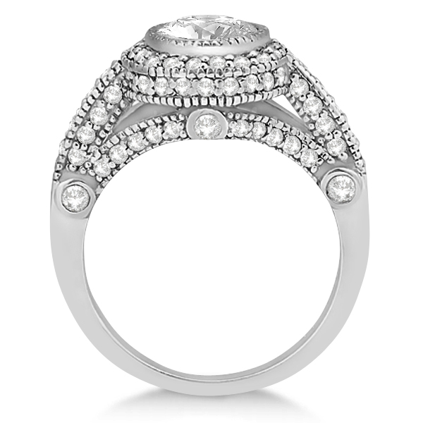 Vintage Diamond Halo Art Deco Engagement Ring 14k White Gold (0.97ct)