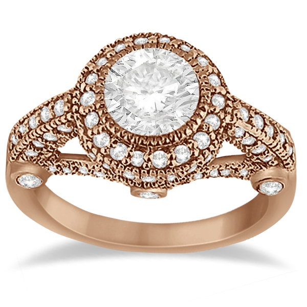 Vintage Diamond Halo Art Deco Engagement Ring 18k Rose Gold (0.97ct)