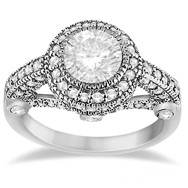 Allurez Vintage Diamond Halo Art Deco Engagement Ring Pal...