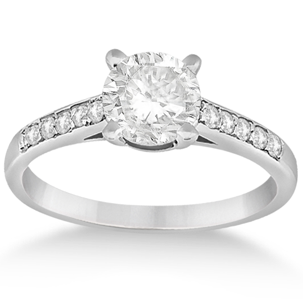 Cathedral Pave Diamond Engagement Ring Setting 14k White Gold 0 20ct