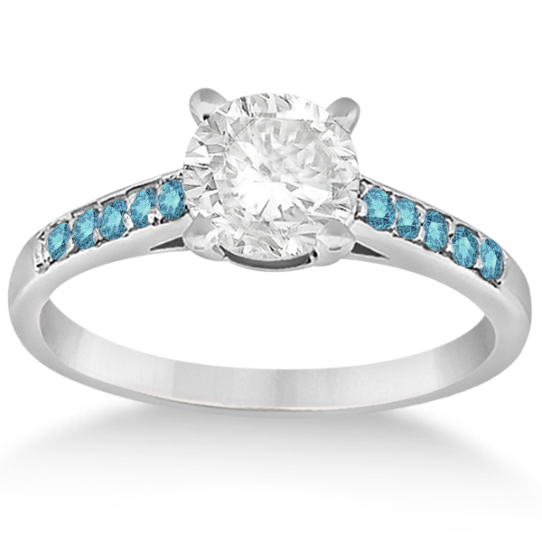 Allurez Cathedral Pave Blue Diamond Engagement Ring 14k White Gold (0.20ct)