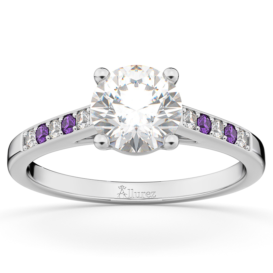 Allurez Cathedral Amethyst and Diamond Engagement Ring 14...