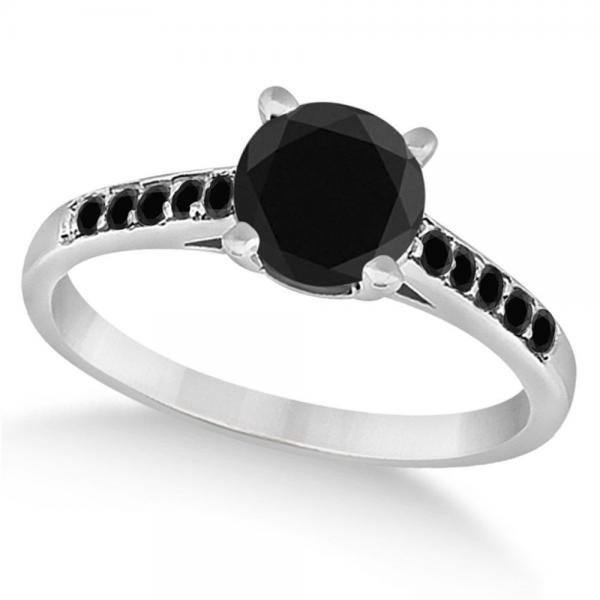 Cathedral Black Diamond Engagement Ring Platinum (1.20ct)