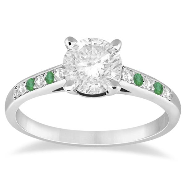 Allurez Cathedral Pave Emerald and Diamond Engagement Ring Platinum (0.20ct)