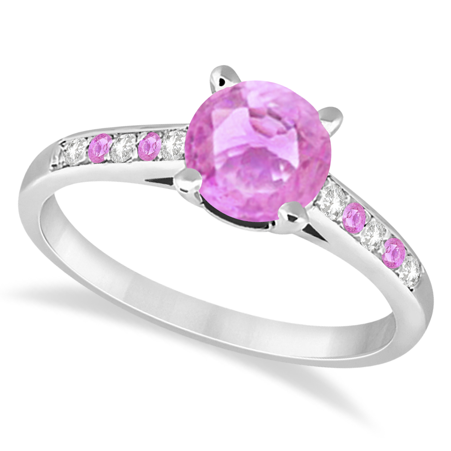 Cathedral Pink Sapphire & Diamond Engagement Ring 14k White Gold 1.20ct