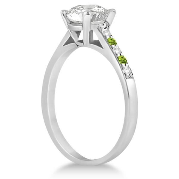 Cathedral Peridot & Diamond Engagement Ring 14k White Gold (0.20ct)