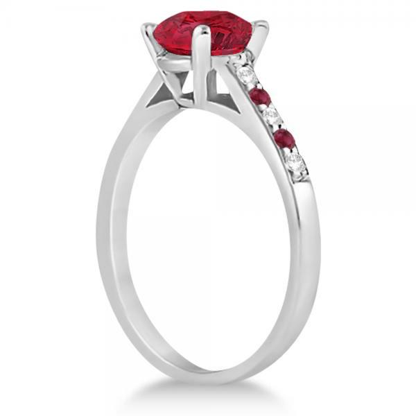 Cathedral Ruby & Diamond Engagement Ring Platinum (1.20ct)