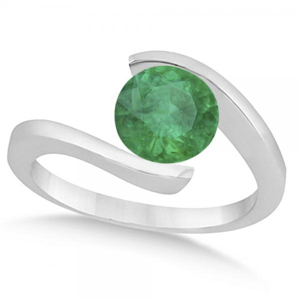 Tension Set Solitaire Emerald Engagement Ring 14k White Gold 2.00ct
