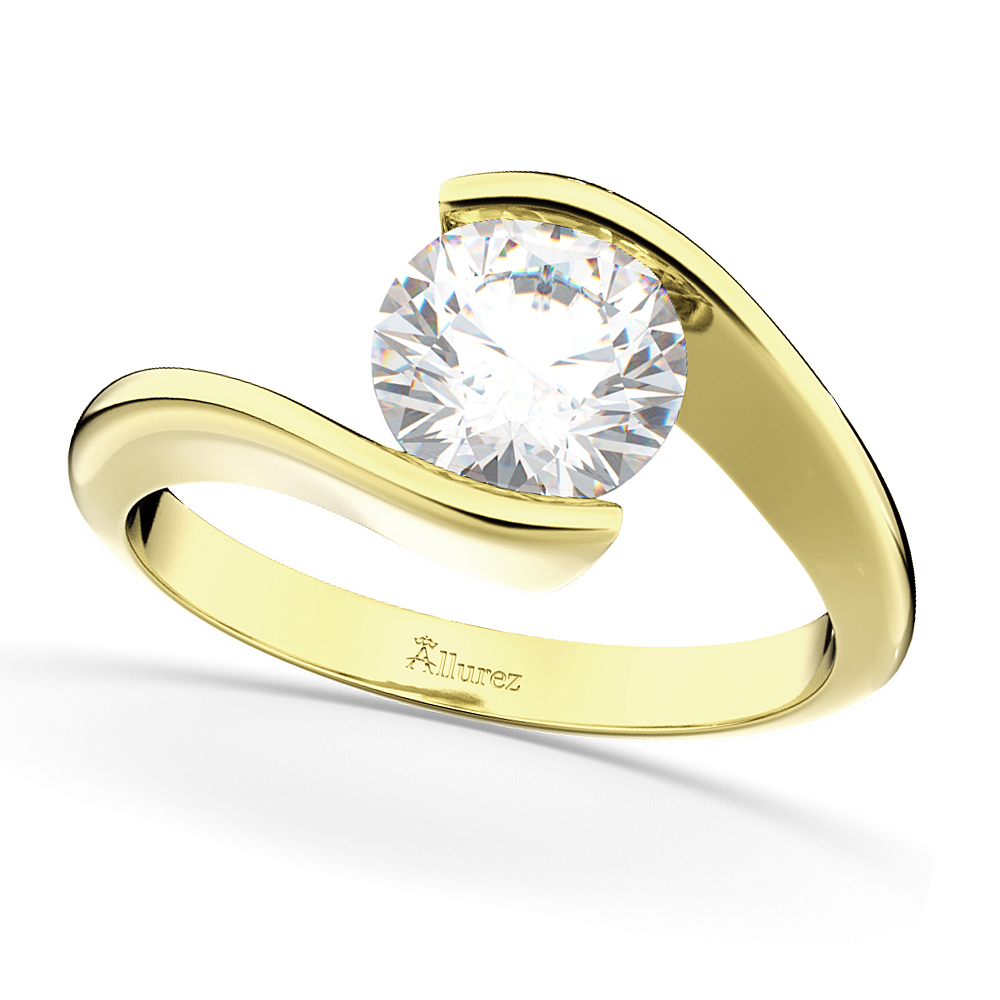 Tension Set Solitaire Diamond Engagement Ring 14k Yellow Gold 0.50ct