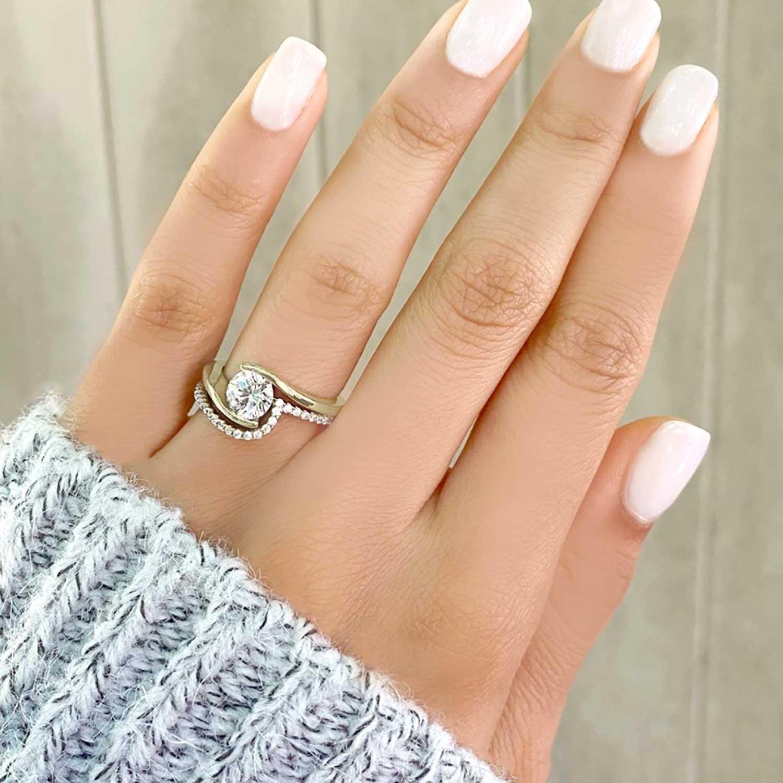 Tension Set Diamond Engagement Ring & Band Bridal Set 14K Yellow Gold