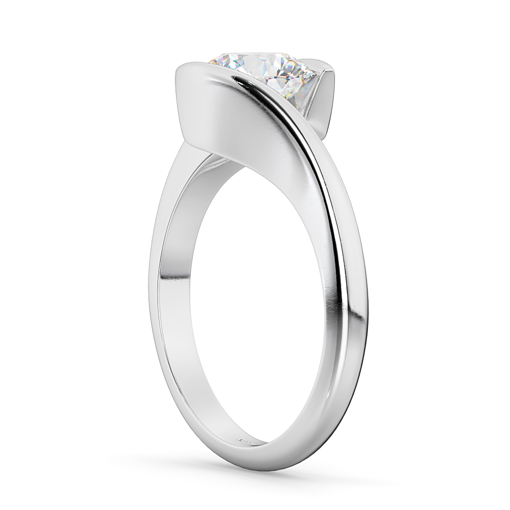 Tension Set Swirl Solitaire Engagement Ring Setting Palladium