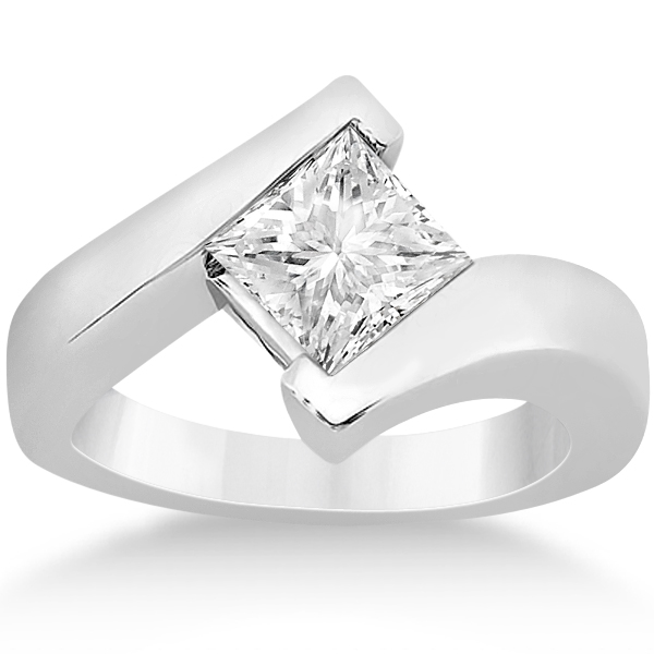 Allurez Princess Cut Tension Set Engagement Ring Solitair...
