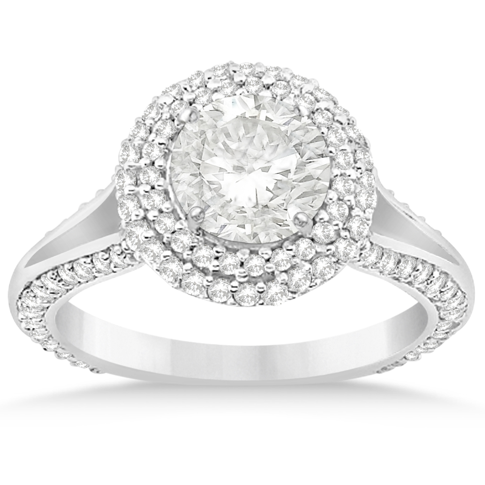 Allurez Double Halo Diamond Engagement Ring Setting 14k W...