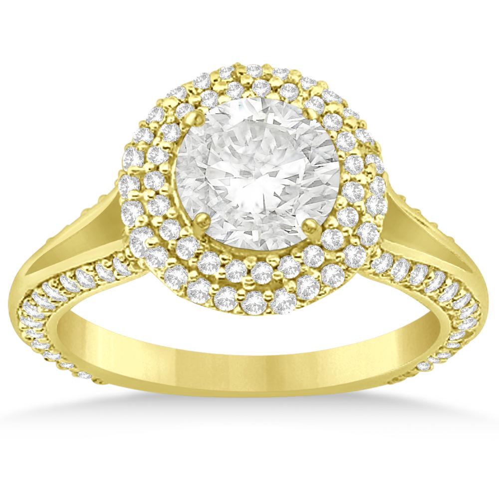 Allurez Double Halo Diamond Engagement Ring Setting 18k Y...