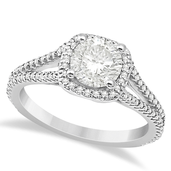 Allurez Square Halo Diamond Engagement Ring Split Shank 1...