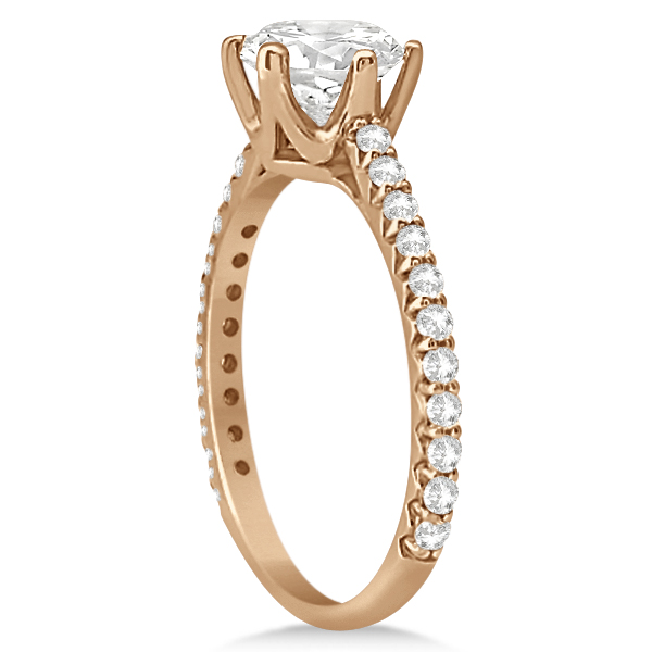 Side Stone Accented Diamond Engagement Ring in 14K Rose Gold 1.33ctw