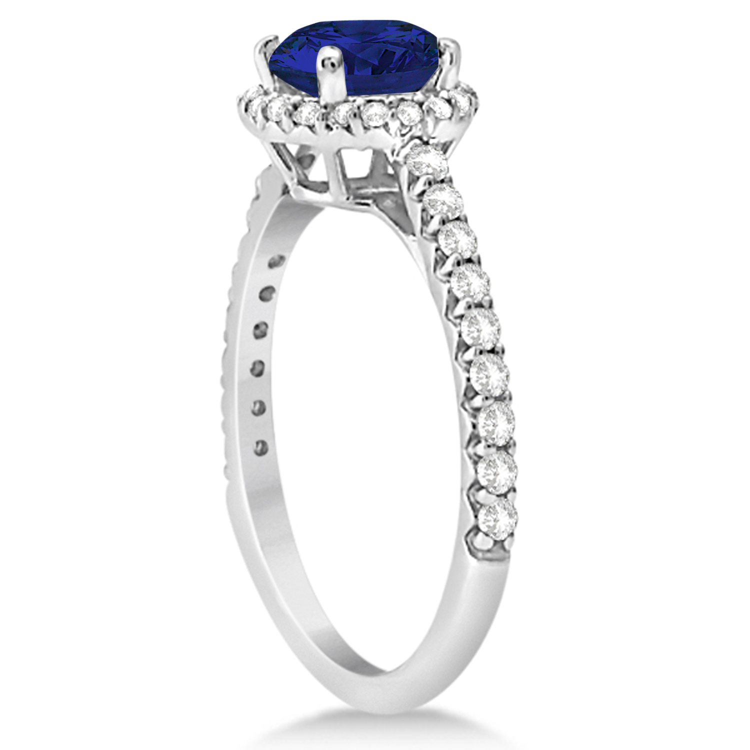 Halo Blue Sapphire & Diamond Engagement Ring  14K White Gold 1.91ct
