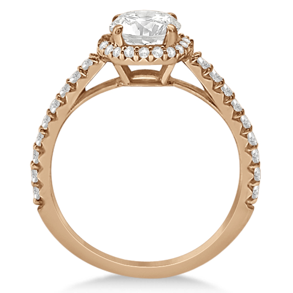 Halo Diamond Engagement Ring w/ Side Stone Accents 14K Rose Gold 1.00ct
