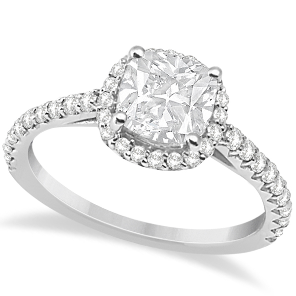 Allurez Halo Design Cushion Cut Diamond Engagement Ring 14K White Gold 0.88ct