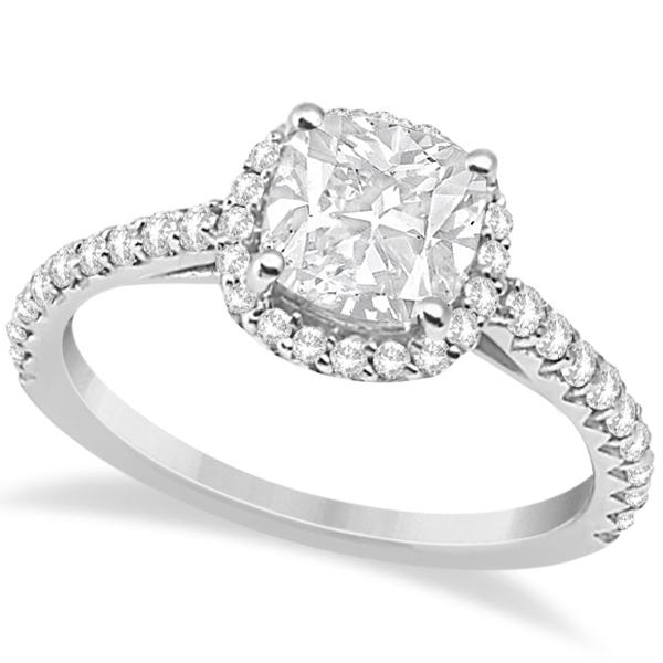 Allurez Diamond Halo Cushion Cut Moissanite Engagement Ring 14K W. Gold 0.88ct