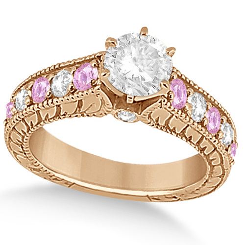 94a910181ad3cc Vintage Diamond Pink Sapphire Engagement Ring 14k Rose Gold 2.41ct ...