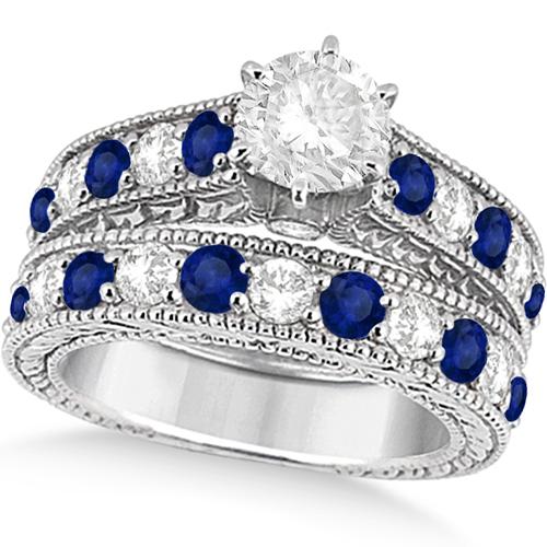 Antique Diamond and Blue Sapphire Bridal Ring Set in Palladium (3.87ct)